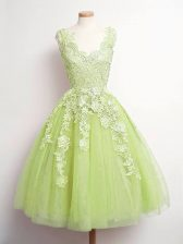 Graceful Yellow Green A-line Lace Damas Dress Lace Up Tulle Sleeveless Knee Length