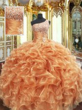 Classical Orange Lace Up One Shoulder Beading and Ruffles 15th Birthday Dress Organza Sleeveless