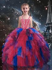 Coral Red Ball Gowns Straps Sleeveless Tulle Floor Length Lace Up Beading and Ruffles Little Girl Pageant Dress