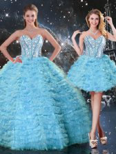 Admirable Aqua Blue Sleeveless Tulle Lace Up 15th Birthday Dress for Military Ball and Sweet 16 and Quinceanera