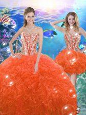 Pretty Orange Red Sweetheart Neckline Beading and Ruffles 15th Birthday Dress Sleeveless Lace Up