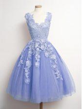 Pretty V-neck Sleeveless Dama Dress Knee Length Appliques Lavender Tulle