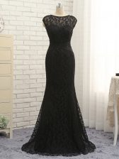 Extravagant Black Sleeveless Lace and Appliques Zipper Prom Party Dress