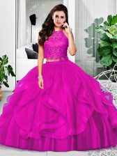 Extravagant Halter Top Sleeveless Tulle Quince Ball Gowns Lace and Ruffles Zipper