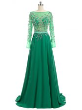 High Quality Green Prom Dress Prom and Party and Military Ball with Beading Bateau Long Sleeves Brush Train Backless