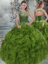 Olive Green Quinceanera Dress Military Ball and Sweet 16 and Quinceanera with Beading and Ruffles Scoop Sleeveless Lace Up