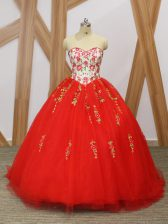 Red Sweetheart Lace Up Embroidery and Ruffled Layers Quinceanera Gown Sweep Train Sleeveless