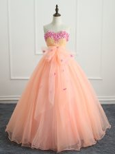 Peach Sweet 16 Dresses Military Ball and Sweet 16 and Quinceanera with Beading and Appliques and Bowknot Sweetheart Sleeveless Lace Up