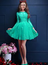 3 4 Length Sleeve Beading and Lace and Appliques Lace Up Quinceanera Dama Dress