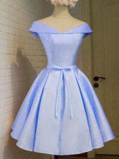Lavender A-line Taffeta Off The Shoulder Cap Sleeves Belt Knee Length Lace Up Court Dresses for Sweet 16
