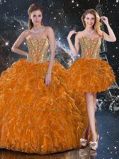 Spectacular Sleeveless Beading and Ruffles Lace Up 15 Quinceanera Dress