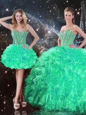 Organza Sleeveless Floor Length Sweet 16 Dress and Beading and Ruffles