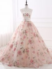Most Popular Pink Scoop Neckline Lace and Appliques and Belt Prom Dress Sleeveless Zipper