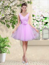 Sweet Tulle Sleeveless Knee Length Quinceanera Court of Honor Dress and Lace and Belt