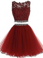 Scoop Sleeveless Tulle Prom Dress Beading and Lace and Appliques Zipper