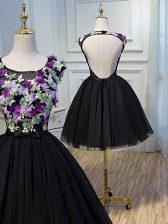 Edgy Sleeveless Backless Mini Length Hand Made Flower Prom Dress