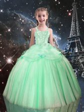 Apple Green Lace Up Little Girls Pageant Gowns Beading Sleeveless Floor Length