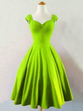Unique Mini Length Lace Up Damas Dress Yellow Green for Prom and Party and Wedding Party with Ruching