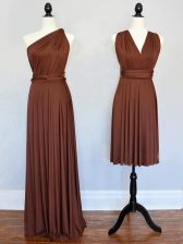 Pretty Floor Length Brown Court Dresses for Sweet 16 One Shoulder Sleeveless Lace Up