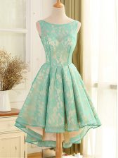 Turquoise A-line Lace and Appliques Prom Evening Gown Backless Lace Sleeveless High Low