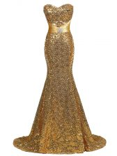 Decent Gold Sweetheart Neckline Sequins Prom Dresses Sleeveless Lace Up