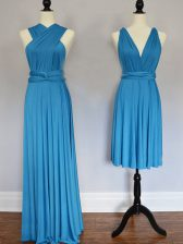 Fabulous Baby Blue Vestidos de Damas Prom and Wedding Party with Ruching Halter Top Sleeveless Lace Up