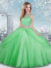 Fine Tulle Clasp Handle Quinceanera Dresses Sleeveless Floor Length Beading and Lace