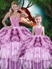 Beading and Ruffles and Ruffled Layers 15 Quinceanera Dress Multi-color Lace Up Sleeveless Floor Length