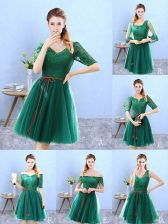 Custom Fit Knee Length A-line Half Sleeves Green Dama Dress for Quinceanera Backless