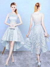Light Blue Lace Zipper Vestidos de Damas Sleeveless High Low Lace