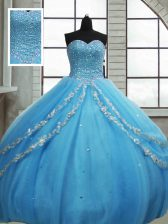 Custom Design Baby Blue Tulle Lace Up Ball Gown Prom Dress Sleeveless Floor Length Beading and Appliques and Sequins
