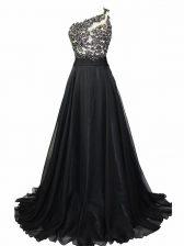 One Shoulder Sleeveless Dress for Prom Brush Train Beading and Lace Black Chiffon