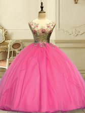 Extravagant Rose Pink Scoop Lace Up Appliques Quinceanera Dress Sleeveless