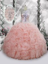 Modest Scoop Sleeveless Quinceanera Gown Floor Length Beading and Ruffles Baby Pink Organza