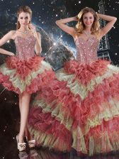 Ball Gowns Quinceanera Gowns Multi-color Sweetheart Organza Sleeveless Floor Length Lace Up