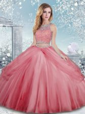 Chic Watermelon Red Sleeveless Floor Length Beading Clasp Handle 15 Quinceanera Dress