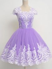 Deluxe Lavender Zipper Square Lace Dama Dress Tulle Sleeveless
