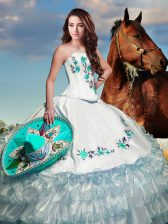 White Strapless Lace Up Embroidery and Ruffled Layers 15 Quinceanera Dress Sleeveless