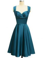 Sophisticated Straps Sleeveless Lace Up Damas Dress Teal Taffeta