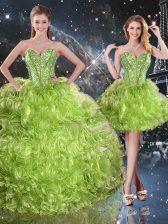 Glamorous Sweetheart Sleeveless Organza 15 Quinceanera Dress Beading Lace Up