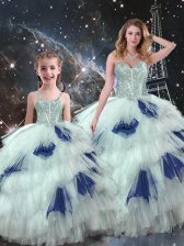 Blue And White Lace Up Sweet 16 Quinceanera Dress Beading and Ruffled Layers Sleeveless Floor Length
