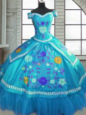 Fitting Teal Taffeta Lace Up Quinceanera Gowns Short Sleeves Floor Length Beading and Embroidery