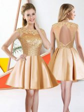Champagne Sleeveless Taffeta Backless Dama Dress for Prom and Party
