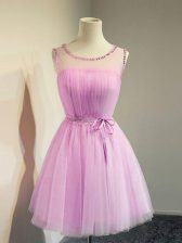 Traditional Lilac Empire Belt Quinceanera Dama Dress Lace Up Tulle Sleeveless Knee Length