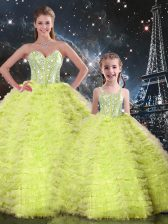 Floor Length Yellow Green 15 Quinceanera Dress Tulle Sleeveless Beading and Ruffles