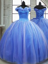 Light Blue Tulle Lace Up Off The Shoulder Sleeveless Quinceanera Dress Brush Train Pick Ups