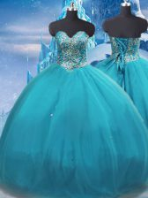 Floor Length Ball Gowns Sleeveless Teal Quinceanera Dresses Lace Up