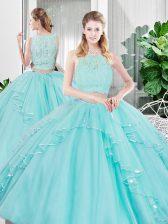 Fashion Sleeveless Zipper Floor Length Lace and Ruffled Layers Sweet 16 Dresses