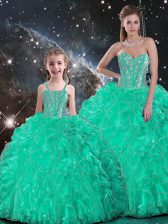 New Arrival Organza Sweetheart Sleeveless Lace Up Beading and Ruffles Sweet 16 Dresses in Turquoise
