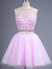 Delicate Scoop Sleeveless Quinceanera Court of Honor Dress Knee Length Beading Lilac Tulle